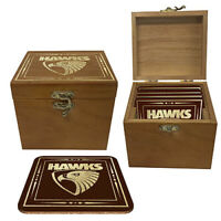 AFL Set Of 4 Cork Coasters In Wooden Gift Box - Hawthorn Hawks - Coaster