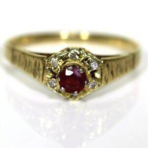 Retro Ruby & Diamond 9ct Yellow Gold Cluster ring size N 1/2 ~ 7