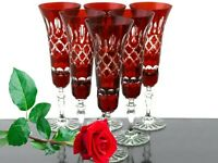 Sektgläser, Römer Bleikristall, 6x 443 RU, Rubin Rot Sekt Gläser, Römer-Kristall