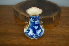"Antique Blue & White Ironstone Pottery Vase w/ Gold Handles 6"" Tall - England"
