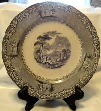 "Antique c1850 Staffordshire England Jenny Lind Green Transferware 9"" Plate"