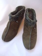 Olive Green Suede/Faux Fur Cloth Slide Wedge Bootie Shoes size