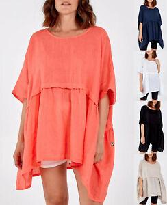 Ladies Womens Italian Oversized Dipped Hem Linen Summer Tunic Top Plus Size