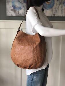 FOSSIL Winslet Camel Tan Leather Embossed Tooled Med-Lrg Hobo Shoulder Handbag