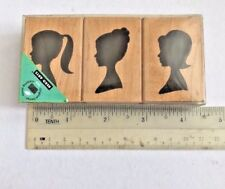 Hero Arts LP195 3 Silhouettes Set Of 3 Wood Blocks Rubber Stamps
