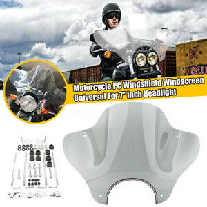 Motorcycle Headlight Windshield + Mounting Kit Universal For Honda Yamaha Harley