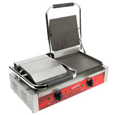 Avantco P88Sg Grooved Top Smooth Bottom Double Commercial Panini Sandwich Grill