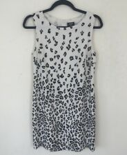 Oasis Cream Animal Print Shift Dress 10 Sleeveless Party Leopard Straight