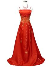 Robe de soirée rouge longue a broderies or taille 42-44