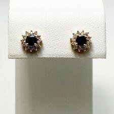 Effy Genuine Sapphire Diamond 14k Gold Halo Earrings (7040)