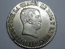 1822 BARCELONA 4 REAL FERDINAND VII SIZE 2 REAL SPAIN SPANISH SILVER COIN