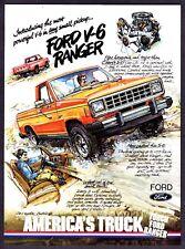 1983 Ford V-6 Ranger Pickup Truck art Small & Powerful vintage print ad