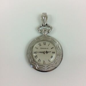 Vintage Caravelle Watch Necklace Pendant Wind Up Silver Tone Ornate