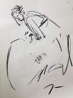 JOSE TRUJILLO - Original Charcoal on Paper Sketch Drawing 18X24 Dress Model COA
