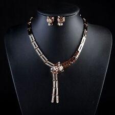 NUOVO 18k Oro Placcato Collana con pendente motivo leopardato Orecchini Gioielli Set
