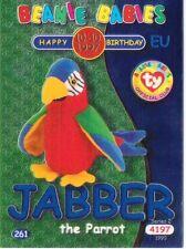 Ty S2 Beanie Card Birthday JABBER PARROT BLUE EUROPE  EUROPEAN VERSION