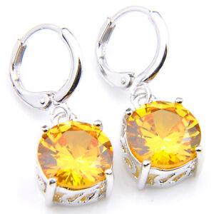 Party Gift Round Cut Natural Honey Morganite Gems Silver Dangle Hook Earrings