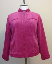 Chicos 2 Soft Floral Pink Corduroy Zip Front Lined Jacket Size Large