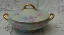 Antique Bavaria Hand painted Soup Veggie Tureen Pastel wash with Pink Roses Gold