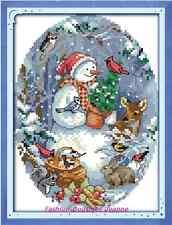 Kit broderie point de croix  ,Cross Stitch Kit, The Snowman's Friends 14CT