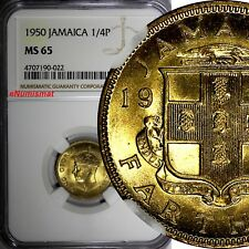 Jamaica George VI 1950 Farthing NGC MS65 Mintage-288,000 TOP GRADED KM# 33