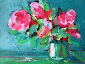 Original Acrylic Painting Pink Flowers in a Vase on Paper Still Life Art No 3