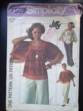 Vintage 1976 Simplicity Women's Wing-Sleeved Pullover Tops Pattern # 7569
