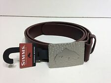 Simms Fly Fishing Big Sky Leather Belt - Zinc Alloy Trout Buckle - L NEW
