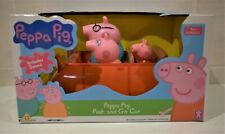 PEPPA PIG PUSH AND GO CAR WITH SOUNDS + 3 FAMILY FIGURES PEPPA MUM DAD
