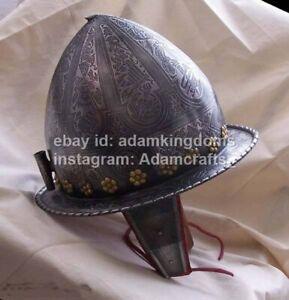 Medieval 16 Gauge Steel Etched Knight Spanish Morion Helmet