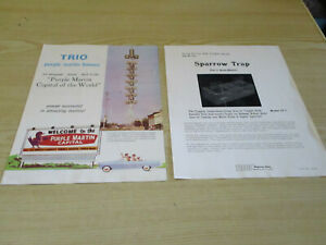 Trio model ST-1 Sparrow Trap & Trio Purple Martin Houses Advertising Brochures