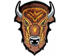 "(L13) Large BROWN BUFFALO HEAD  9"" x 12"" iron on Back patch (3866) Biker vest"