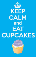 Mantener la calma y comer Cupcakes-Turquesa-pegatina de vinilo-Novedad 12 Cm X 8 Cm