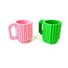 Build-On Lego Brick Mug Building Blocks Coffee Cup Mug Block Puzzle Set of 2