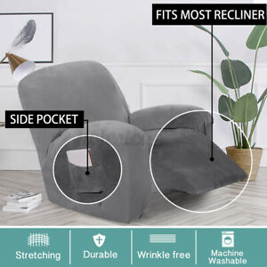 Velvet Stretch Recliner Chair Covers Couch Cover Sofa Furniture Lounge Slipcover