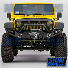 Full Width Front Bumper+Winch Plate+LED Mounting Hole fit 07-17 Jeep JK Wrangler