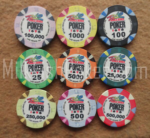 WSOP Ceramic Poker Chips - 9 chip sample - Casino Quality