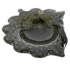 GlassOfVenice Murano Glass Bullicante Leaf Bowl - Black