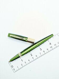 "Vtg green ""World"" fountain pen - f semi flex steel nib - Japan"