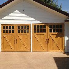 Wooden Timber garage doors with windows cross brace 7ft x 7 ft 2133x2133mm