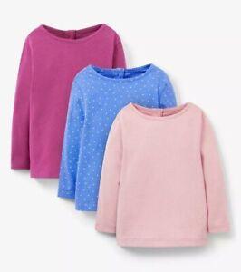 JOHN LEWIS BABY GIRLS SOFT COTTON Tee T-Shirts LONG SLEEVE PINK BRAND NEW