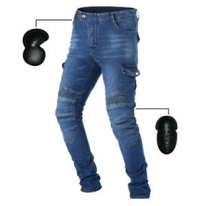 HOT Motorcycle Biker Distressed Pants Denim Jeans Trousers Moto Protection Pads