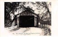 Indiana IN Postcard Real Photo RPPC c1940s DARLINGTON Covered Bridge Sugar Creek