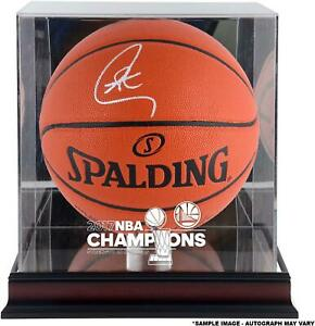Stephen Curry GS Warriors Signed 2017 NBA Champs Basketball & Mahogany Case