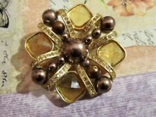 Jones New York JNY Faux Faceted Amber Gemstones Bronze Pearls Pin Brooch