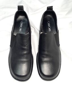 VTG 90s Cherokee Black Leather Chunky Heel Stretch Loafers Shoes Women's sz 8