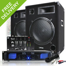 """Complete 15"""" PA DJ Party Disco Sound System Speakers + Amplifier + Mixer 2000W"""