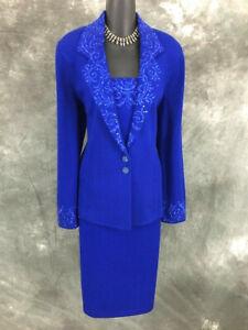 STUNNING St John evening knit blue rhinestones jacket skirt suit size 10