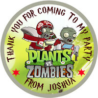 30x Personalised  Plants vs Zombie 50mm (2 inch) Stickers Party Thank You Seals