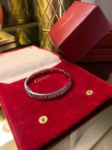 Cartier Love Bracelet in 18k White Gold diamond Size 19, pouch box